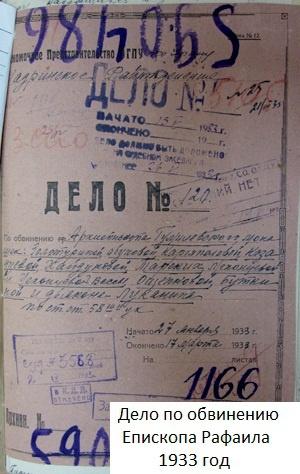 Дело по обвинению епископа Рафаила, 1933 год.